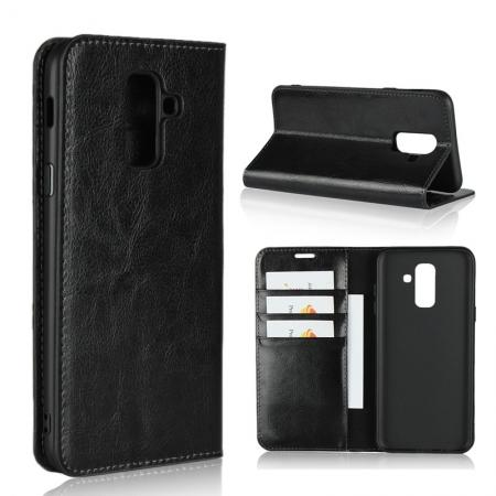 For Samsung Galaxy A6+ (2018) Premium Crazy Horse Genuine Leather Case Flip Stand Card Slot - Black