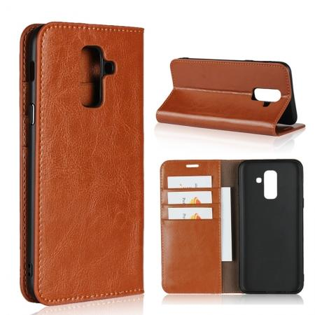 For Samsung Galaxy A6+ (2018) Premium Crazy Horse Genuine Leather Case Flip Stand Card Slot - Brown