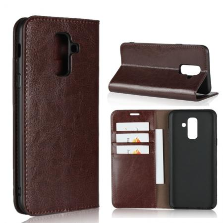 For Samsung Galaxy A6+ (2018) Premium Crazy Horse Genuine Leather Case Flip Stand Card Slot - Coffee