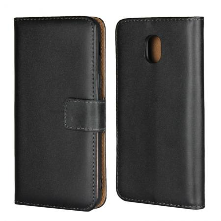 Genuine Leather Stand Wallet Case for Samsung Galaxy J3 (2018) with Card Slots&holder - Black