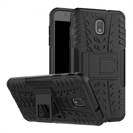 Rugged Armor Shockproof Protective Kickstand Phone Case For Samsung Galaxy J3 (2018) - Black