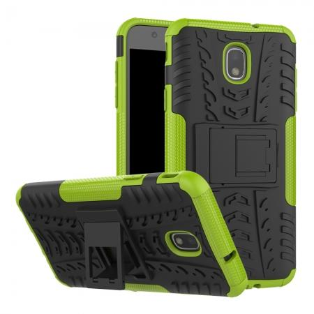 Rugged Armor Shockproof Protective Kickstand Phone Case For Samsung Galaxy J3 (2018) - Green