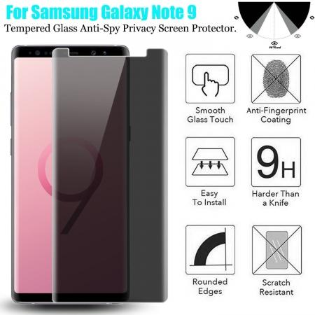 For Samsung Galaxy Note 9 3D 9H Anti-Spy Privacy Screen Protector Tempered Glass