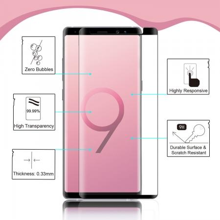 For Samsung Galaxy Note 9 3D 9H Full Cover Tempered Glass Screen Protector .