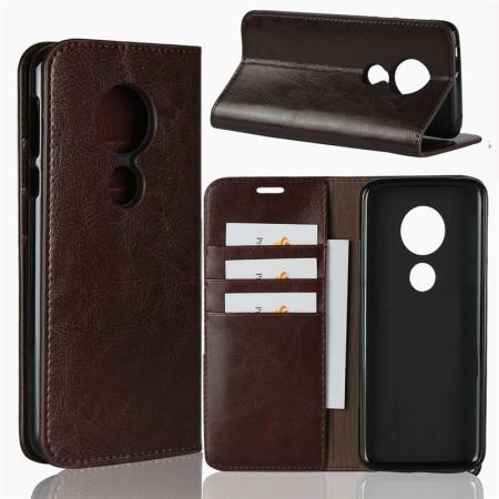 For Motorola Moto E5 Crazy Horse Genuine Leather Case Flip Stand Card Slot - Coffee