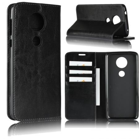 For Motorola Moto E5 Plus Crazy Horse Genuine Leather Case Flip Stand Card Slot - Black