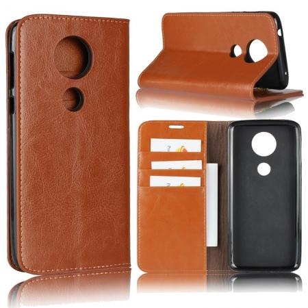 For Motorola Moto E5 Plus Crazy Horse Genuine Leather Case Flip Stand Card Slot - Brown