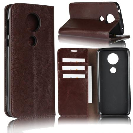 For Motorola Moto E5 Plus Crazy Horse Genuine Leather Case Flip Stand Card Slot - Coffee