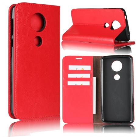 For Motorola Moto E5 Plus Crazy Horse Genuine Leather Case Flip Stand Card Slot - Red