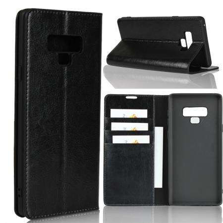 For Samsung Galaxy Note 9 Genuine Leather Card Slot Wallet Flip Case Cover - Black