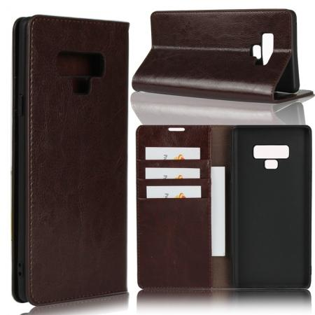 For Samsung Galaxy Note 9 Genuine Leather Card Slot Wallet Flip Case Cover - Coffee