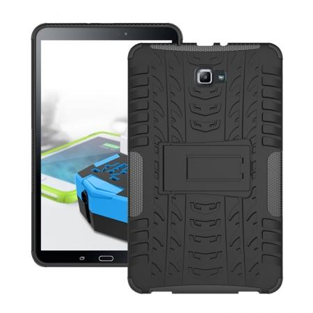 Heavy Duty Hybrid Protective Case with Kickstand For Samsung Galaxy Tab A 10.1 Inch SM-T580 SM-T585 - Black
