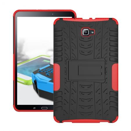 Heavy Duty Hybrid Protective Case with Kickstand For Samsung Galaxy Tab A 10.1 Inch SM-T580 SM-T585 - Red