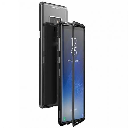 Magnetic Adsorption Case for Samsung Galaxy Note 9 Metal Bumper + Tempered Glass Back Cover - Black