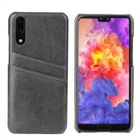 Oil Wax Card Holder Back PU Leather Case for Huawei P20 - Grey