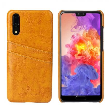 Oil Wax Card Holder Back PU Leather Case for Huawei P20 - Yellow