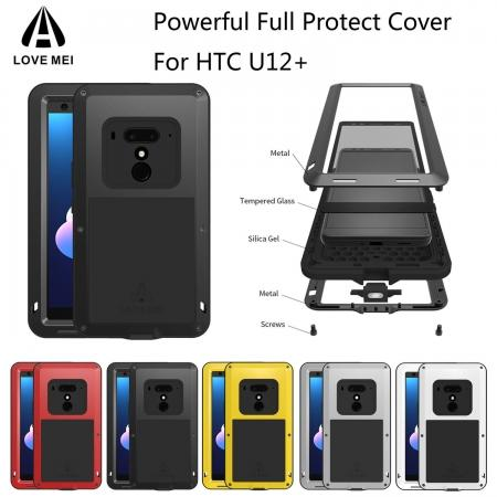 Aluminum Metal Cover for HTC U12+ U12 Plus Shockproof Silicone Gel Case