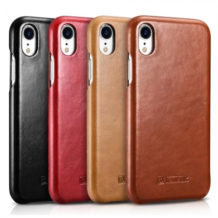 For iPhone XR ICARER Vintage Curved Edge Flip Real Leather Case