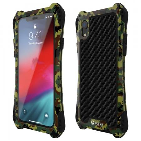 For iPhone XS Max Aluminum Metal TPU Shockproof Carbon Fiber Case - Camouflage