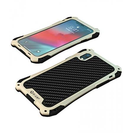 For iPhone XS Max Aluminum Metal TPU Shockproof Carbon Fiber Case - Gold Black