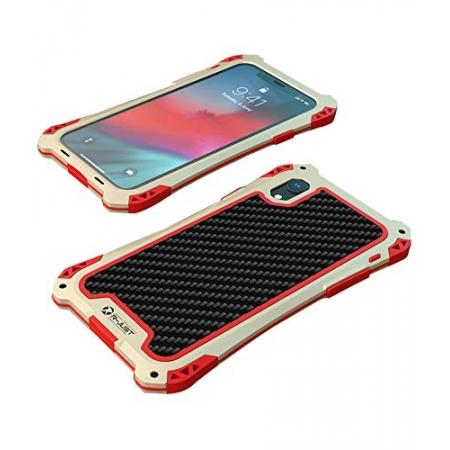For iPhone XS Max Aluminum Metal TPU Shockproof Carbon Fiber Case - Gold Red