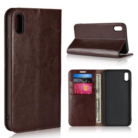 For iPhone XS Max Leather Wallet Stand Case Card Slot Shockproof Flip Cover - Coffee