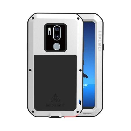 For LG G7 / LG G7 ThinQ Aluminum Metal Gorilla Glass Shockproof Waterproof Case Cover  - White