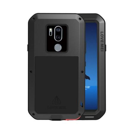 For LG G7 ThinQ / G7 One Gorilla Glass Metal Aluminum Armor Cover Case - Black