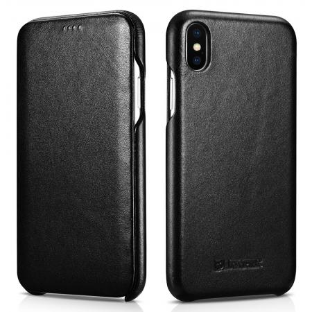 ICARER Curved Edge Luxury Genuine Leather Side Flip Case For iPhone XS Max - Black