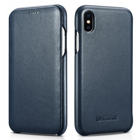 ICARER Curved Edge Luxury Genuine Leather Side Flip Case For iPhone XS Max - Dark Blue
