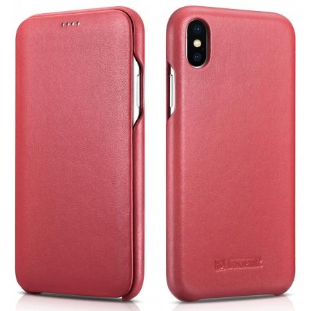 ICARER Curved Edge Luxury Genuine Leather Side Flip Case For iPhone XS Max - Red