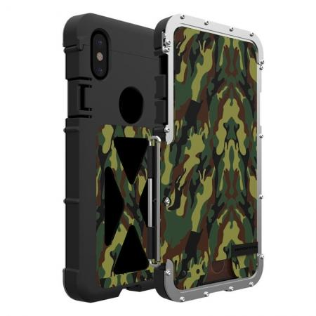 R-JUST Shockproof Aluminum Metal Flip Case Cover For iPhone XS Max - Green