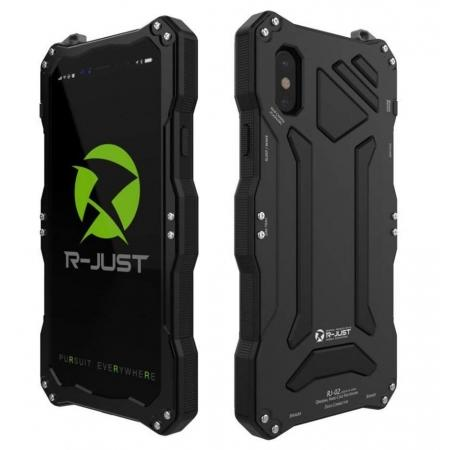 R-Just Gorilla Glass Aluminum Metal Shockproof Military Bumper Case for iPhone XS Max - Black