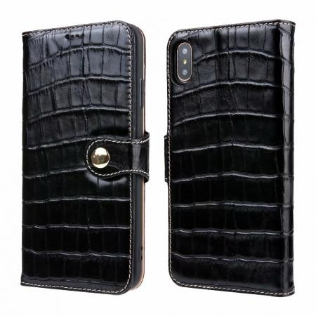 For iPhone XS Max Crocodile Pattern Genuine  Leather Stand Case with Card Slots -  Black