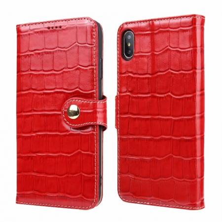 For iPhone XS Max Crocodile Pattern Genuine  Leather Stand Case with Card Slots -  Red