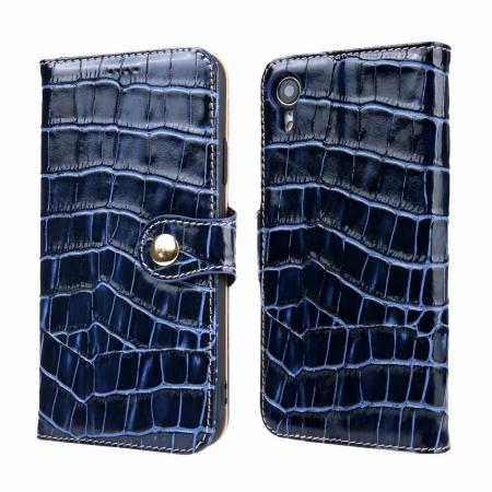 Crocodile Pattern Genuine Leather Case for iPhone XR - Dark Blue