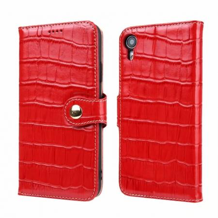Crocodile Pattern Genuine Leather Case for iPhone XR - Red