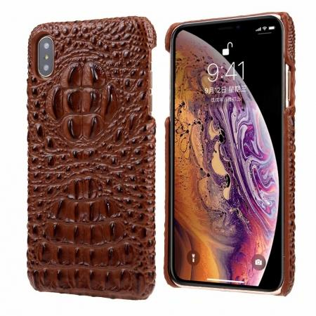 For iPhone XS Max Crocodile Head Pattern Genuine Leather Back Case Cover - Brown