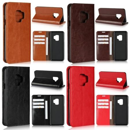 Genuine Leather Card Wallet Flip Slot Stand Case For Samsung Galaxy S7 / S8 / S9 / Note 9