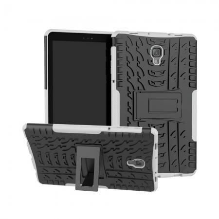 Dual Layer Protection Shockproof Cover Hybrid Rugged Case with Kickstand for Samsung Galaxy Tab A 10.5 [SM-T590/SM-T595] - White