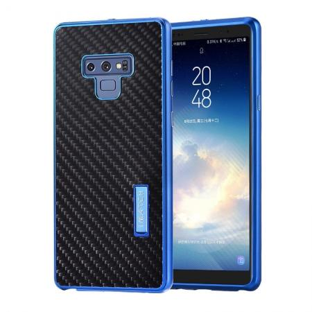 For Samsung Galaxy Note 9 Carbon Fiber Shockproof Metal Aluminum Case Back Cover - Blue
