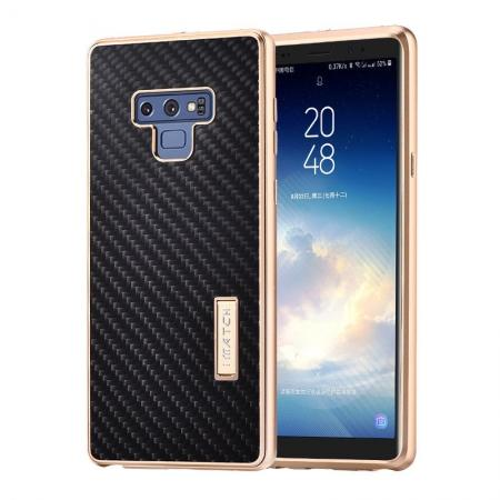 For Samsung Galaxy Note 9 Carbon Fiber Shockproof Metal Aluminum Case Back Cover - Gold