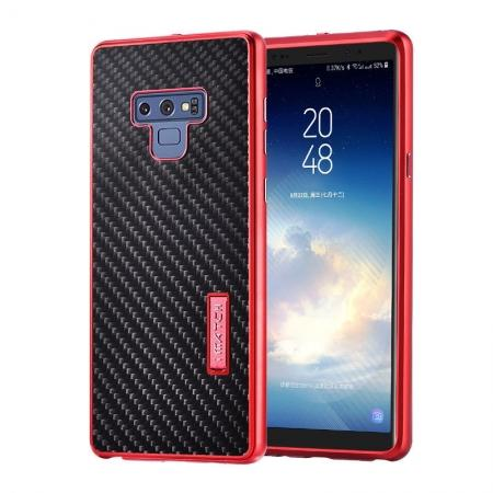 For Samsung Galaxy Note 9 Carbon Fiber Shockproof Metal Aluminum Case Back Cover - Red