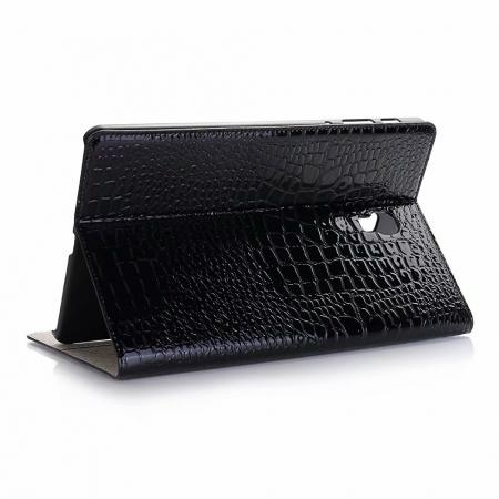 For Samsung Galaxy Tab A 10.5 T590/T595 2018 Crocodile Pattern Stand Leather Case - Black