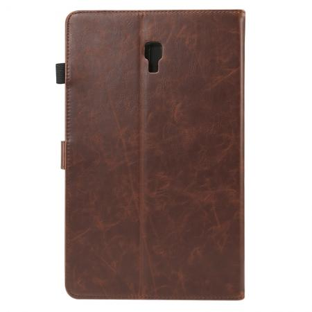For Samsung Galaxy Tab A 10.5 T590 / T595 Luxury Crazy Horse Texture Stand Leather Case - Dark Brown