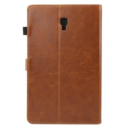 For Samsung Galaxy Tab A 10.5 T590 / T595 Luxury Crazy Horse Texture Stand Leather Case - Brown