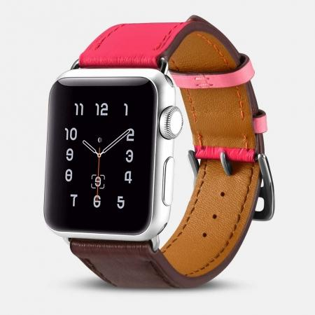 i-Carer For Apple Watch Band 44mm / 42mm Cow Genuine Leather Strap Series 4 3 2 1 - Rose Red + coffee