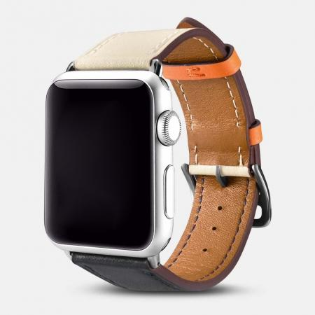 i-Carer For Apple Watch Band 44mm / 42mm Cow Genuine Leather Strap Series 4 3 2 1 - White + Black