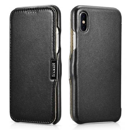 ICARER Luxury Series Genuine Leather Folio Flip Case Cover with Magnetic for iPhone XS Max - Black