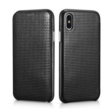 ICARER Woven Pattern Series Curved Edge Real Leather Folio Case for iPhone XS - Black